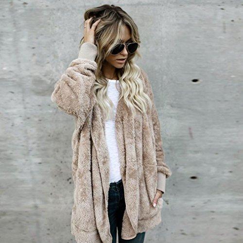 BBring Damen Mode Outwear, 2017 Fall/ Winter Faux Pelz Kapuzen Lange Jacke Kapuzenpullis Parka Strickjacke Mantel (XL, Khaki) - 4