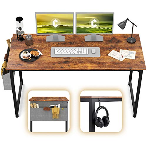 CubiCubi Computer Desk 63' Study Writing Table for Home Office, Modern Simple Style PC Desk, Black Metal Frame, Rustic