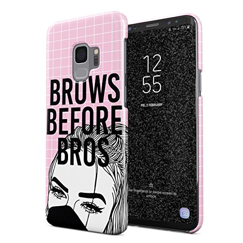 Glitbit Compatible with Samsung Galaxy S9 Case Glamourholic Brows Before Bros Makeup Junkie Artist Sassy Girl for Girls Tumblr s MUA Thin Design Durable Hard Shell Plastic Protective Case Cover