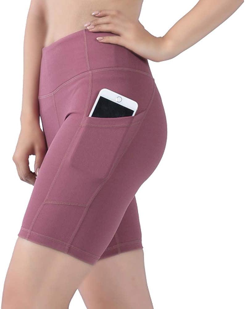 DD DEMOISELLE Women's Yoga Shorts High with Be super welcome Stretc Waist Cheap Pockets