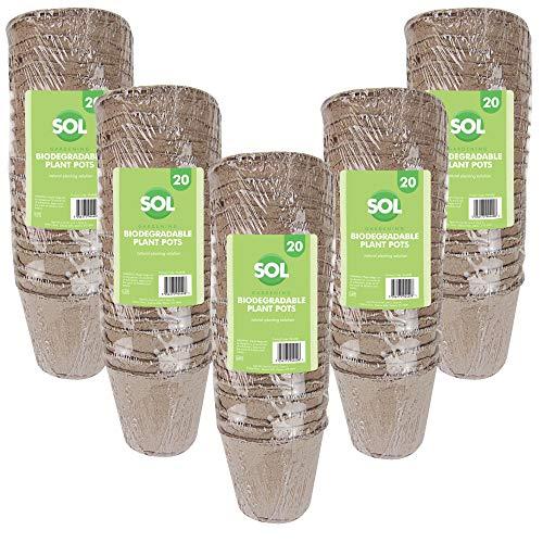 Sol 100 vasi per Piante da Giardino, biodegradabili, ecologici, Piccoli vasi per Piante in Fibra, vasetti per Torba, Ideale per coltivatori di Semi, Incluso Un e-Book per Giardinaggio.