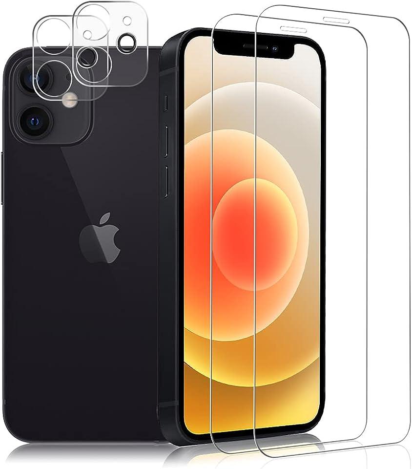 """Carantee 2 Stück Panzerglas Kompatibel mit iPhone 12 mini (5.4""""), 2 Stück Kamera Schutzfolie, 9H Hartglas Anti-Kratzer Displayschutzfolie HD Klar Anti-Öl Panzerglasfolie"""