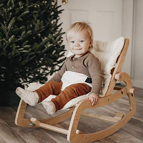 FUNNY SUPPLY Multi Toddler Wooden Lounge Rocker with Cushion 3 in 1 Rocker Booster Seat Toddler Chair Natural Color