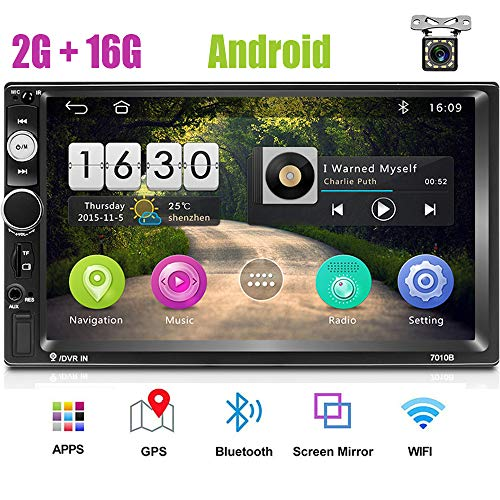 Android 8.1 Autoradio Touchscreen 2Din Auto Multimedia Radio GPS Navigation, 2G RAM + 16G ROM Armaturenbrett Autoradio, Autoradio mit WiFi Bluetooth +12 LED-Rückfahrkamera
