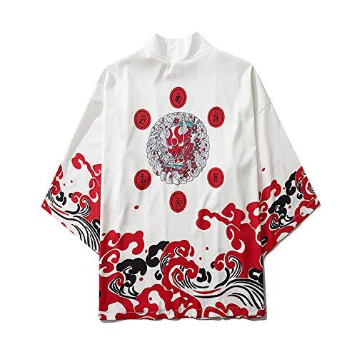 Kimono Cárdigan Hombre Abrigos Japones Estilo Yukata, Capa Suelta Interior Unisex/Traje De...