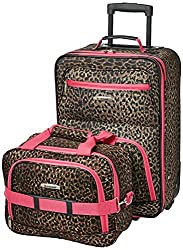 cheap Rockland Fashion Softside Vertical Luggage Set, Pink Leopard, 2 Pieces (14/19)