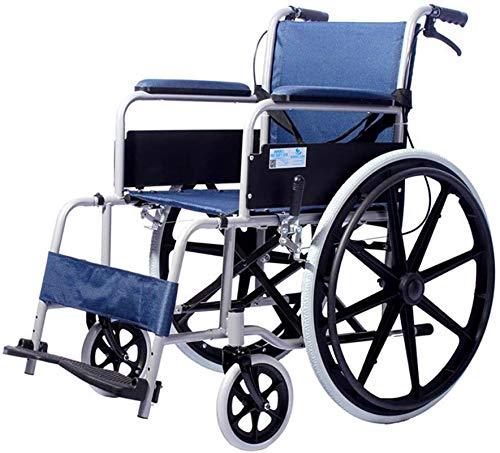 Espejo Sedia a rotelle elettrica Pieghevole Sedia a rotelle Multifunzione Leggera in Acciaio Pieghevole BARELLA Freno a Mano Oggetti Sanitari Anziani disabili per Viaggi, Adulti, Anziani
