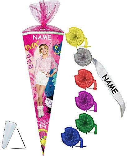 alles-meine.de GmbH stabile Spitze - aus Kunststoff - für Schultüte -  Disney - Violetta  - 22 / 35 / 50 / 70 / 85 cm - incl. Namen und individueller Schleife - Zuckertüte ALLE..