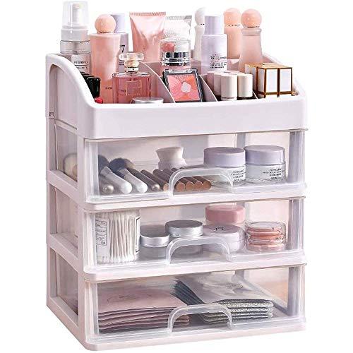 Pantalla cosmética caja de la caja de almacenamiento de cosméticos de maquillaje organizador de múltiples capas de cajón de plástico transparente antideslizante de escritorio caja de almacenamiento co