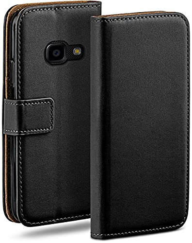 moex Klapphülle für Samsung Galaxy Xcover 4 Hülle klappbar, Handyhülle mit Kartenfach, 360 Grad Schutzhülle zum klappen, Flip Hülle Book Cover, Vegan Leder Handytasche, Schwarz