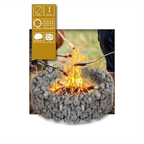bellissa Gabione Feuerstelle Lagerfeuer Feuerschale Feuerkorb Feuertonne Feuer MIT Steinen Marmorkies Verona Rot 40/60 mm