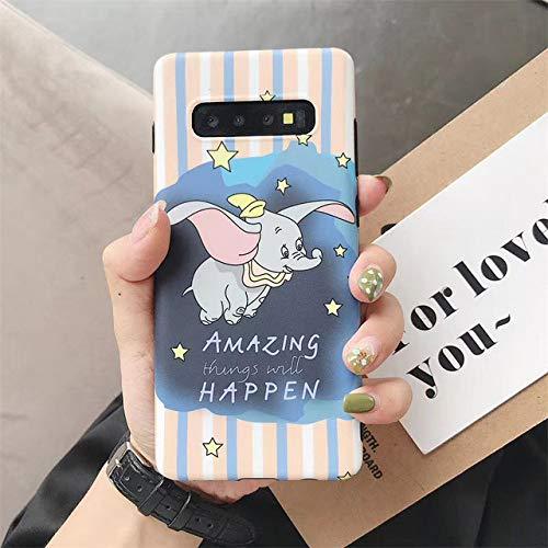 YYXFSH telefoonhoesje Cartoon Leuke Disneys vliegen Olifant Telefoonhoesje Voor Samsung S8 S8Plus S9 S9Plus S10 S10Plus Note8 Note9 IMD Zachte hoes Back Cover, For Samsung S10, roze