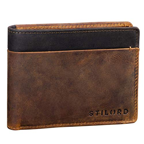 STILORD Sterling Cartera RFID Hombre Cuero Portamonedas NFC Bloqueo Monedero Clásico Billetera Portatarjetas de Piel Genuino, Color:marrón - Medio