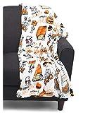 Peanuts Great Pumpkin 50 Years Anniversary Halloween Plush Blanket (Snoopy Characters in Costumes) 55' x 70' Velvet Soft