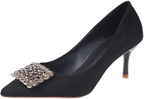 zapatos De Tacón Alto para mujer con Punta Estrecha Y Poco Profunda Hebilla De La Boca zapatos De Boda De Diamantes De Imitación Salvajes negro