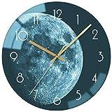 VIKMARI 30 cm Reloj de Pared, Vidrio Silencioso para No Tictac Reloj de Pared, Calidad de Cuarzo con Pilas Ronda, Redondo de Tierra Verde Reloj de Pared Cocina Salon