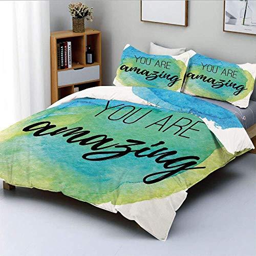 Bettbezug-Set, Sie sind erstaunlich inspirierend Zitat auf Aquarell Painbrush DesignDecorative 3-teilige Bettwäsche-Set mit 2 Kissen Sham, Sky Blue Green, Kinder & Erwachsene
