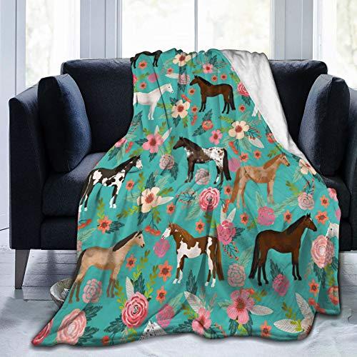 Multi Theme Blanket Size Lightweight Super Soft Comfortable Luxury Bed Blanket Microfiber(Flower Horse 40 x50 )