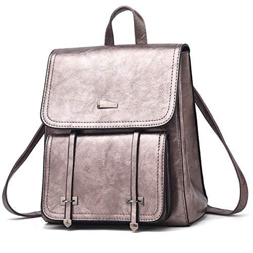 I IHAYNER Rucksack Damen Rucksäcke PU Leder Geldbörse Flip Schultasche Handtasche Beiläufig Reise Tagesrucksäcke für Frauen Mädchen Bronze