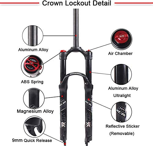 ZLYY Aria Mountain Bike Suspension Fork, Dritto Tubo di Viaggio for Crown Lockout MTB Forcelle, Ultralight Gas Ammortizzatore (Size : 29)