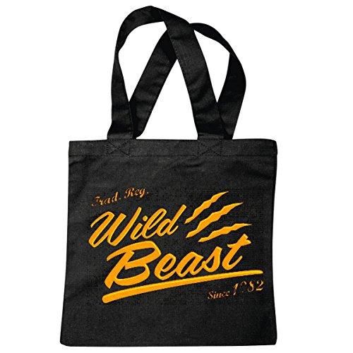 Tasche Umhängetasche WILD Beast Since 1982 Vintage College USA Amerika LOS Angeles California Brooklyn New York City Manhattan Rugby Baseball Football FUßBALL Einkaufstasche Schulbeutel Turnbeutel