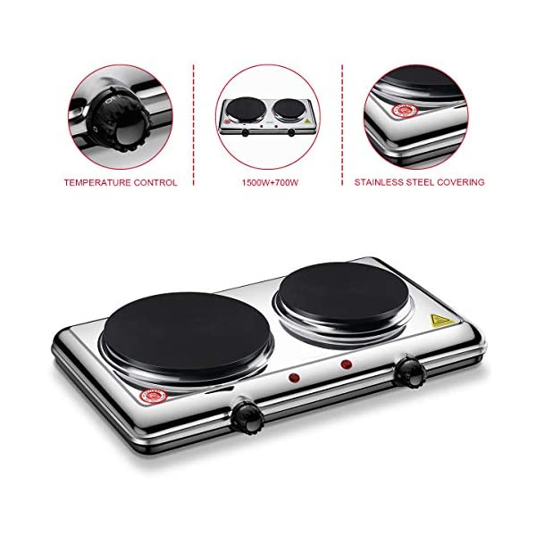 Homeleader Hot Plate for Cooking Electric, Double Burner with Adjustable Temperature...