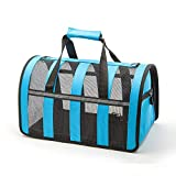 ZGYQGOO Haustier Handtasche, Tech Airline Approved Pet Carrier Unter Sitz Soft Sided Dog Cats Carrier Kleine Welpen Airline Travel Handtasche Schultertasche, Blau * L