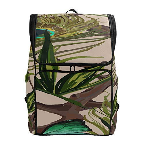 Peacock Feather Butterfly And Palm Leaf Casual Tote Bag For Women Best Packable Daypack Hiking Cooler Bag School Bus Bagfits 15.6 Inch Laptop And Notebook Travel Lunch Bag
