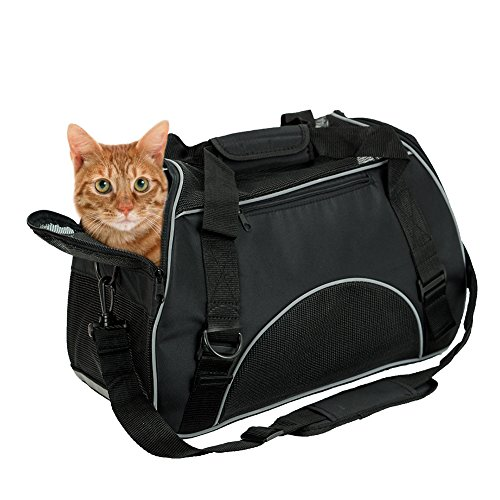 BENCMATE Soft Side Pet Carrier Travel Bag for Small Dogs and Cats Airline Approved Under Seat Black