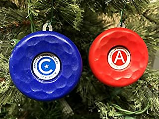 Zieglerworld American Table Shuffleboard Puck Weight Holiday Christmas Ornaments - Set of 2 - Blue & Red Cap Top