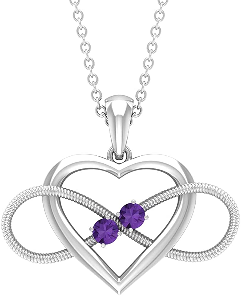 Cheap super special price Heart Infinity High order Pendant Necklace with Created Amethyst Lavender