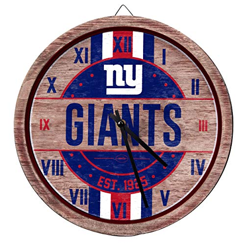 FOCO NFL New York Giants Team Logo Wood Barrel Wall ClockTeam Logo Wood Barrel Wall Clock, Team Color, One Size