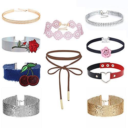 MingJun 10 collares de cuero con cordones y diseño vintage de flores bordadas de tela vaquera ancha y gruesa de terciopelo con diamantes de imitación