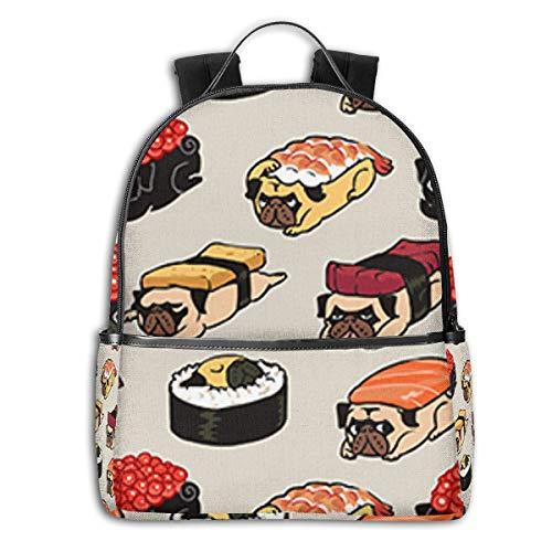 Dog Roller Cute Japanese Best Sushi RiceSide Themed Casual Shoulders Backpack Travel Mini Bookbag Book Back School Bag for Girls Boy Women Men merchandise