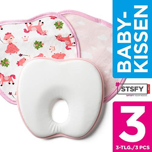 Orthopädisches Babykissen + 2 waschbare Kopfkissen Bezüge GRATIS - Plagiozephalie Babykopfkissen Baby Kissen gegen Plattkopf Schädelverformung Kopfform Kopfverformung - 100% Schadstofffrei (Rosa)