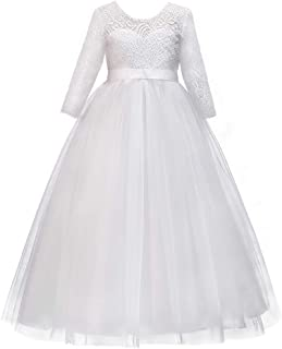 Girls Long Lace Bridesmaid Dress 3/4 Sleeves Floor Length Maxi Tulle Pageant Ball Gowns Wedding Party Dresses for Kids