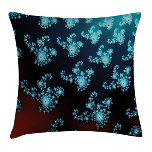 Lunarable Fractal Throw Pillow Cushion Cover, Vibrant Trippy Forms with Twisted Parts Background Creative Motion Design, Decorative Square Accent Pillow Case, 28 X 28 Inches, Turquoise Burgundy