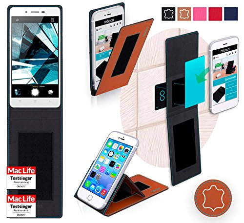 Hülle für Oppo Mirror 5s Tasche Cover Hülle Bumper | Braun Leder | Testsieger