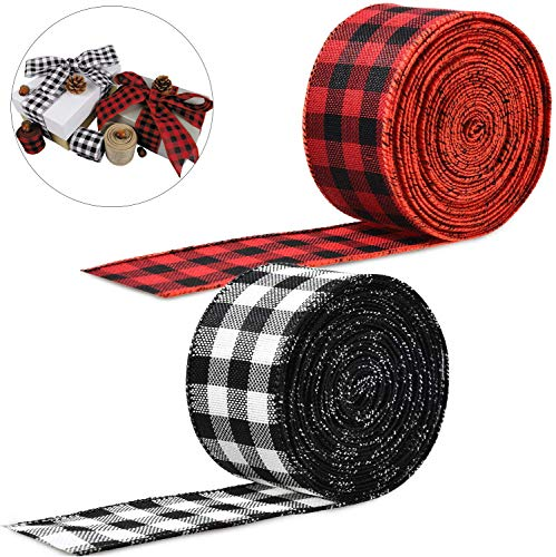 2 Rolls Christmas Tartan Burlap Ribbon Red and Black for Xmas Tree Garland Bells Holiday Wedding DIY Floral Bows Clothes Craft Decoration 6m * 5cm / 19.7Ft * 2 Inch