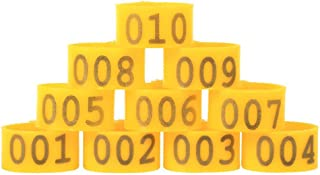 100PCS/Bag 16MM 001-100 Numbered Plastic Poultry Chickens Ducks Goose Leg Bands Leg Rings (Yellow)