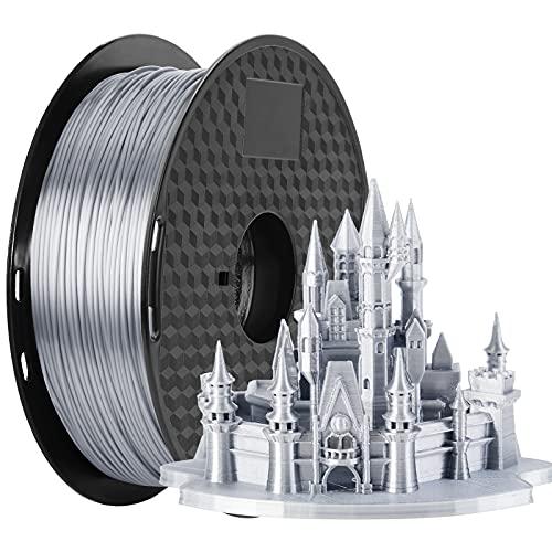 3D Printer Filament Silk Silver, MKOEM Silky Shiny PLA Filament 1.75mm for 3D Printer and 3D Pen, 1kg 1 Spool