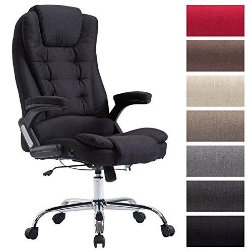 CLP XXL Chefsessel Thor mit Stoffbezug, max. belastbar bis 150 kg, Bürostuhl mit Armlehnen, höhenverstellbar, Drehstuhl mit dickem Polster Schwarz