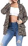 Mujeres Ladys Casual Botón Hasta Bolsillos Ligeros Leopardo Impresión Chaquetas