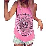 Mujer Camiseta,Sonnena Patrón de Sol Estampado sin Manga Camiseta para Mujer y Chica Joven Casual Sexy Traje de Verano Fresco para Citas Actividades al Aire Libre (XL, Rosado)