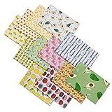 Groust 12 piezas de tela de algodón estampado de frutas de algodón patrón de Navidad, accesorios de costura, para patchwork, manualidades (12 patrones diferentes, 50 x 50 cm)
