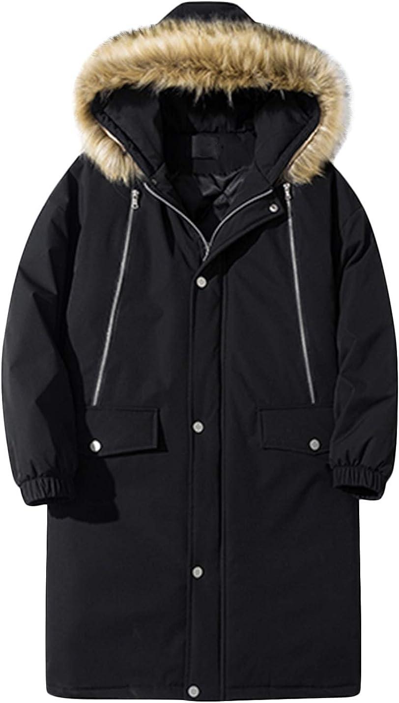 Springrain Men's Winter Fur Hood Windbreaker Jacket Long Puffy Parka Coat