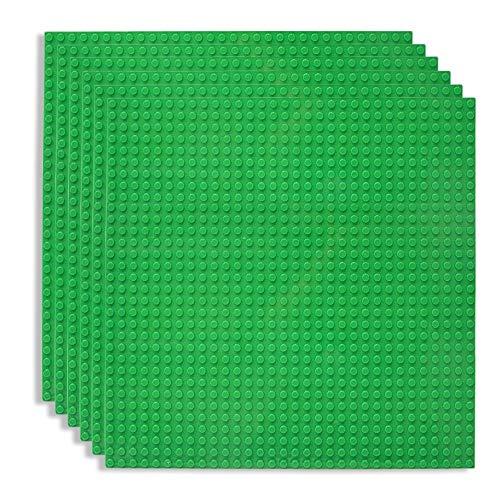 Lekebaby 6 Platten-Set Bauplatte Kompatibel mit Meisten Marken, 25*25cm, Grüne Grundplatte