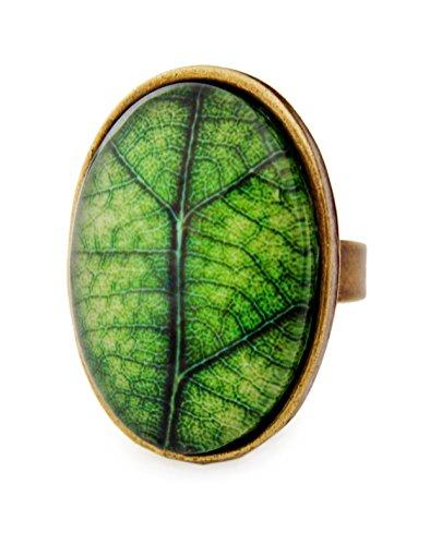 Miss Lovie Ring Damen Statement Für Mütter Freundin Mädchen Modeschmuck Schmuck Vintage Verstellbar Blatt Baum Ring Grün - 25x18mm Cabochon Bronze