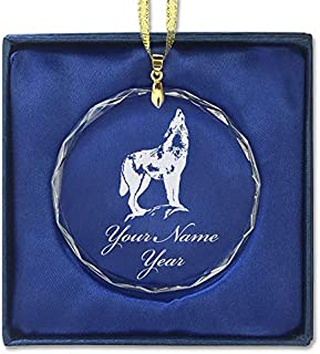 LaserGram Christmas Ornament, Howling Wolf, Personalized Engraving Included (Round Shape)