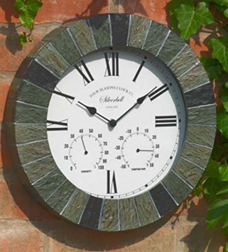Garden Mile Large Modern Slate Effect Rustic Indoor/Outdoor Wall Clock Decorative Fence Ornament Thermometer Barometer Mountable Weatherproof Weather Station Thermometer Hygrometer.